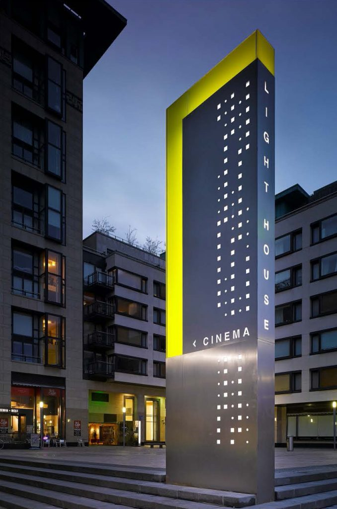 Photograph of a monolith sign for the Lighthouse Cinema in Dublin