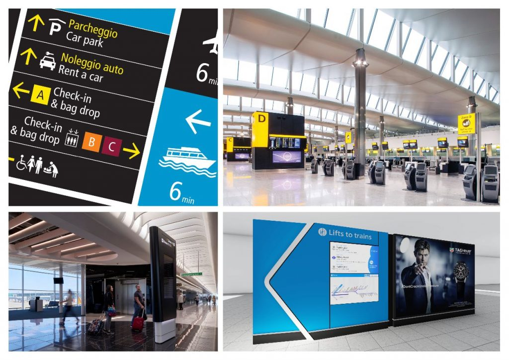 Pascall+Watson composite image of recent wayfinding project at various European Aiport