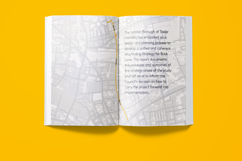 Image of inside spread of booklet about Brick Lane Threads project on yellow background
