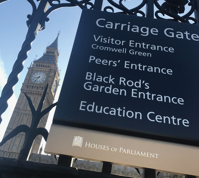 Gate sign at the Houses of Parliament (ABG Design visitor wayfinding signs)