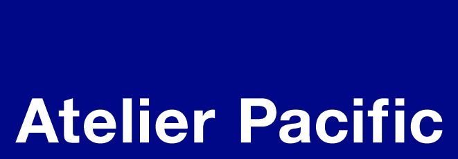 Blue background company logo for Atelier Pacific with white type.