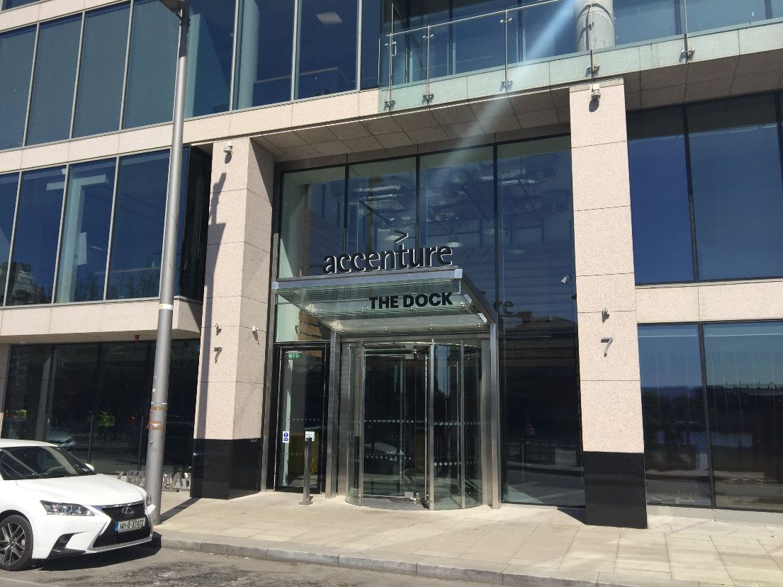 View of entrance to Accenture Head Office (Dublin) featuring John Anthony Signs signage