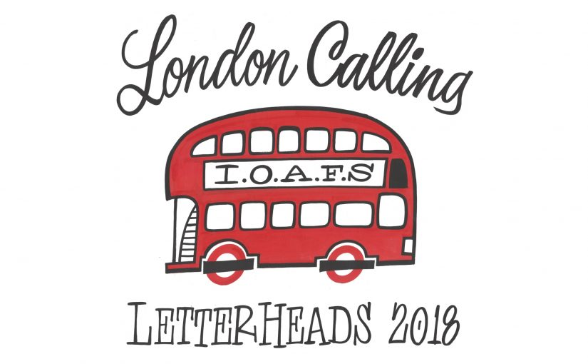 London Calling Letterheads 2018 Poster featuring old fashioned red double-decker bus