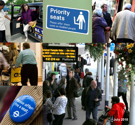 Composite image of transport hubs and people with disabilities travelling