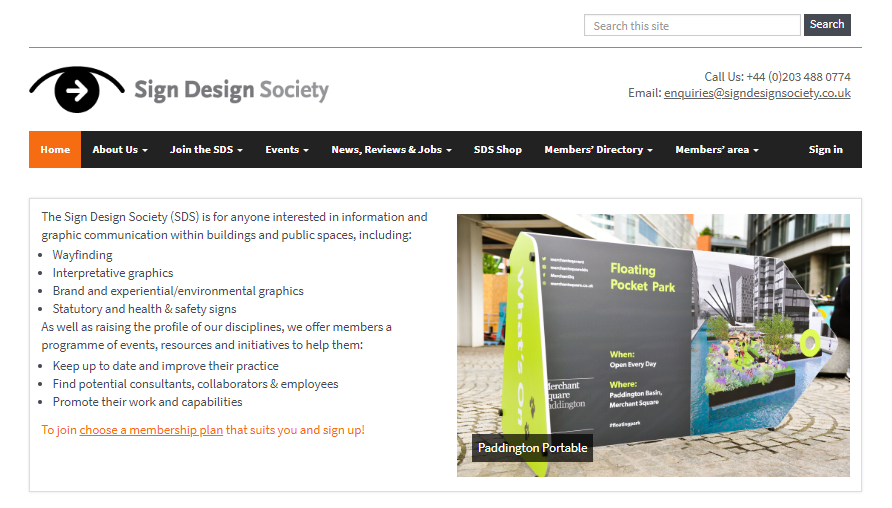 Snapshot of the SDS website home page