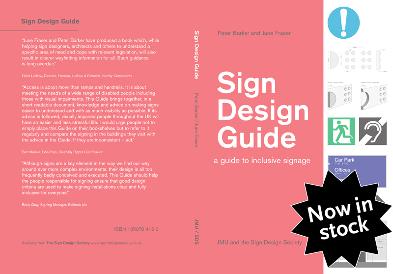 Sign Design Guide cover with black 'back in stock' label