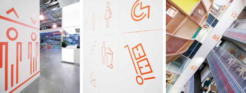 A composite of Reade Signs Here East project wayfinding signage