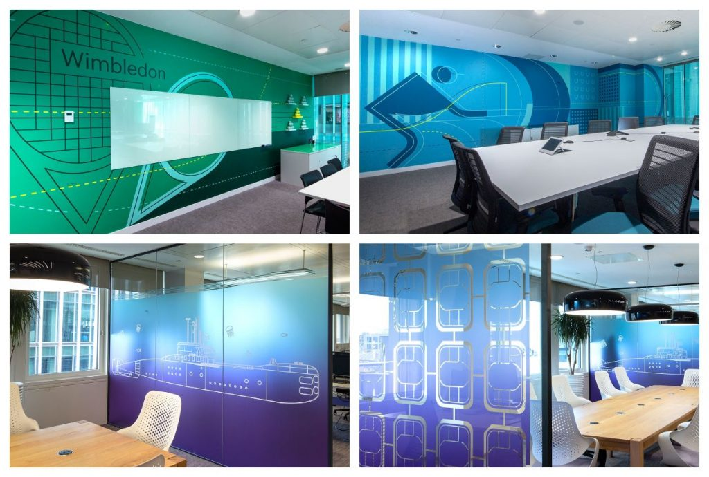 Composite image featuring internal office views showing Signbox architectural signage