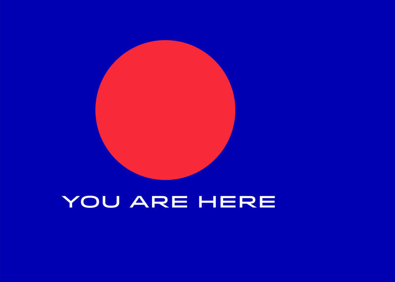 You are here text and red location dot on a blue background