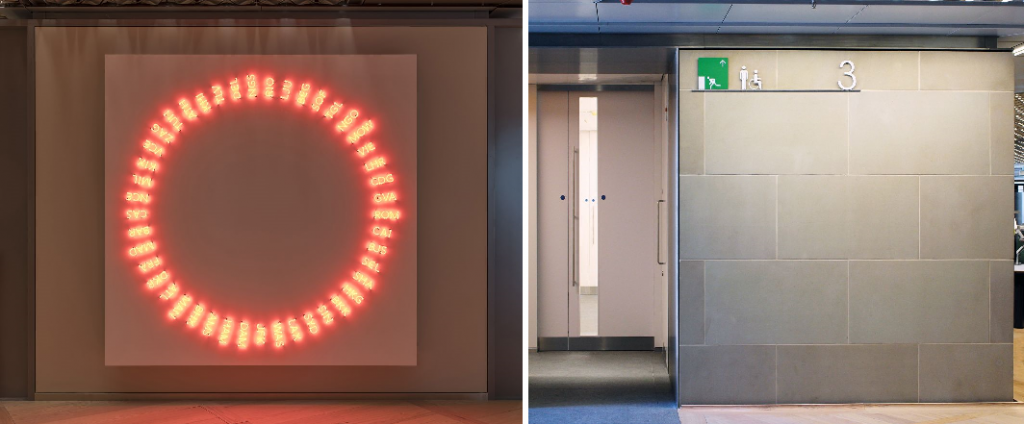 Interior examples of wayfinding/signage in the Bloomberg European HQ (London)