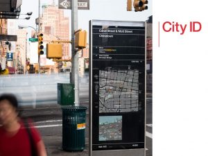 A wayfinding totem for New York (example of City ID work)