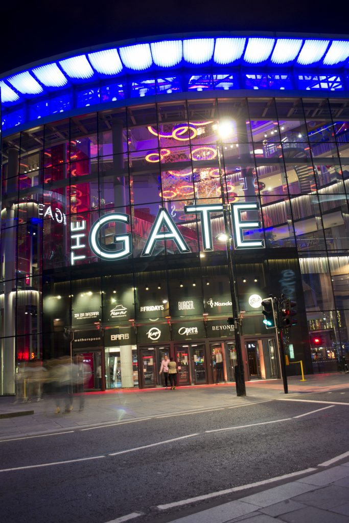 View of The Gate (Newcastle) awarding signage produced by Interplan Sign Systems Ltd
