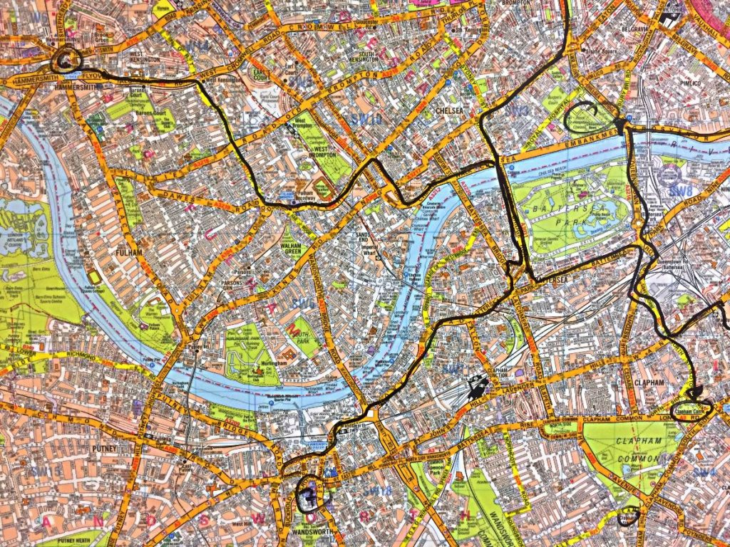 Map of London with taxi driver's route mapped in black