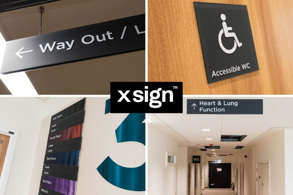 Composite image showing examples of internal signage fabricated by xsign at Royal Papworth Hospital