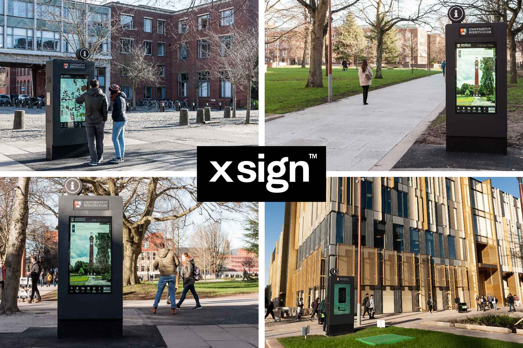 Composite picture showing four images of wayfinding totems situated around the University of Birmingham