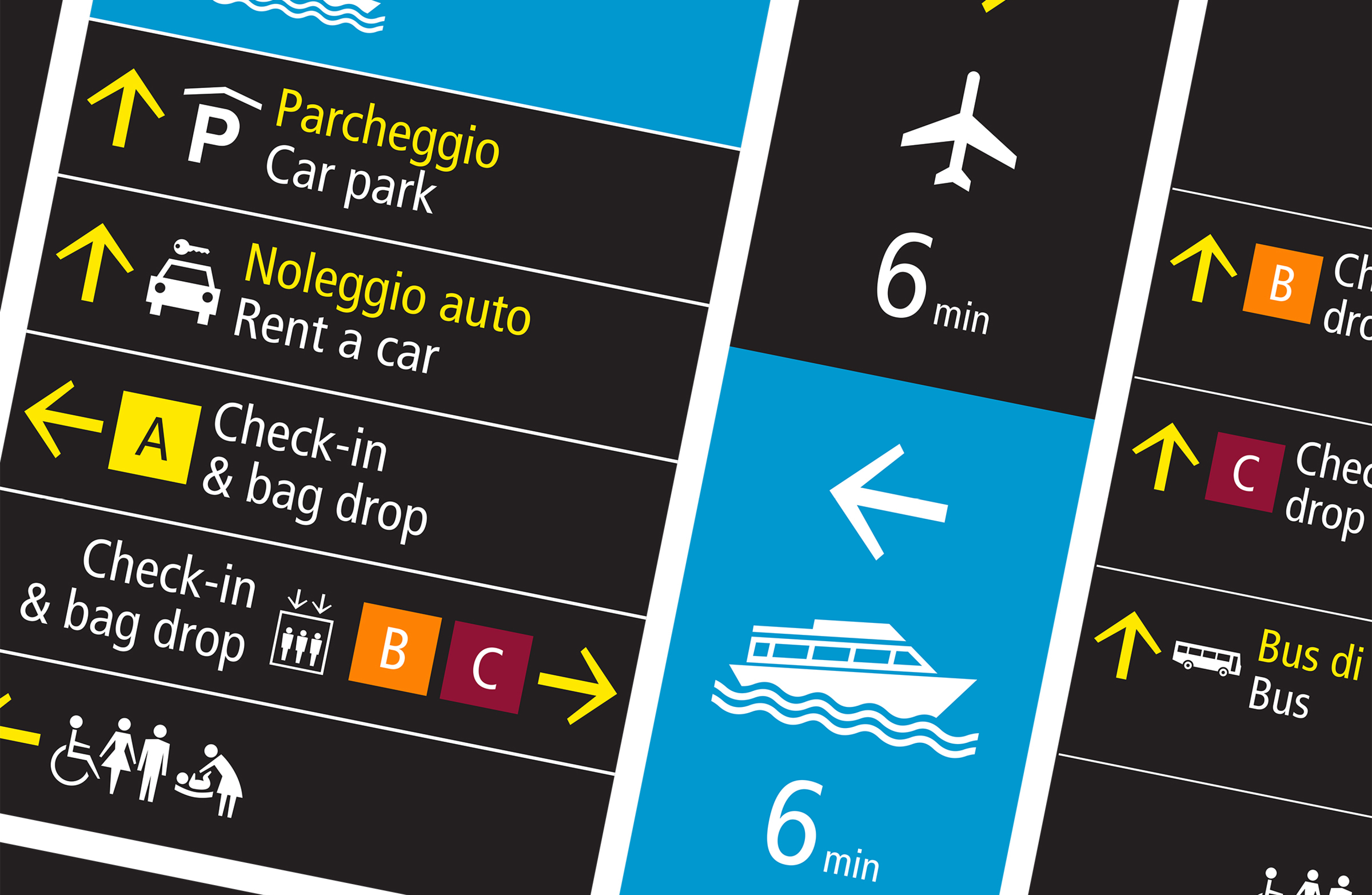 Example of signage designed by Pascall+Watson at Venice Marco Polo International Airport