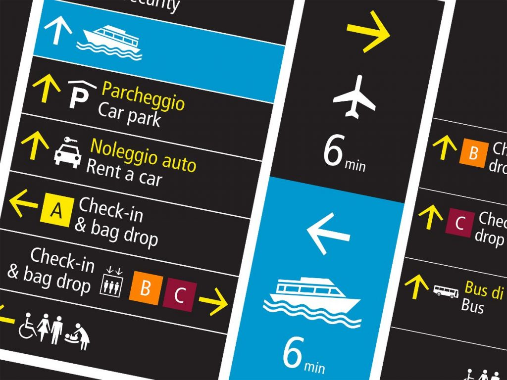 An example of Venice Airport wayfinding signage by Pacall+Watson