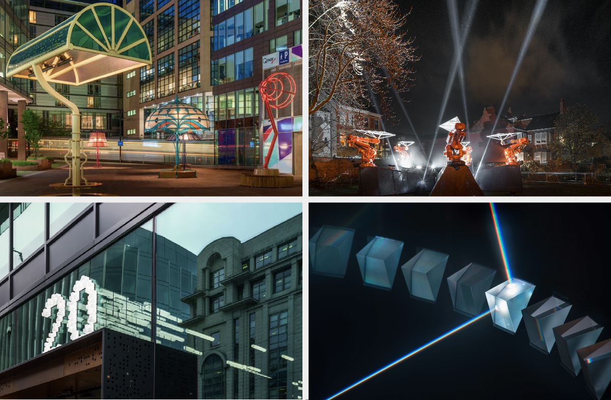 Examples of light placemaking by Acrylicize and Jason Bruges Studio