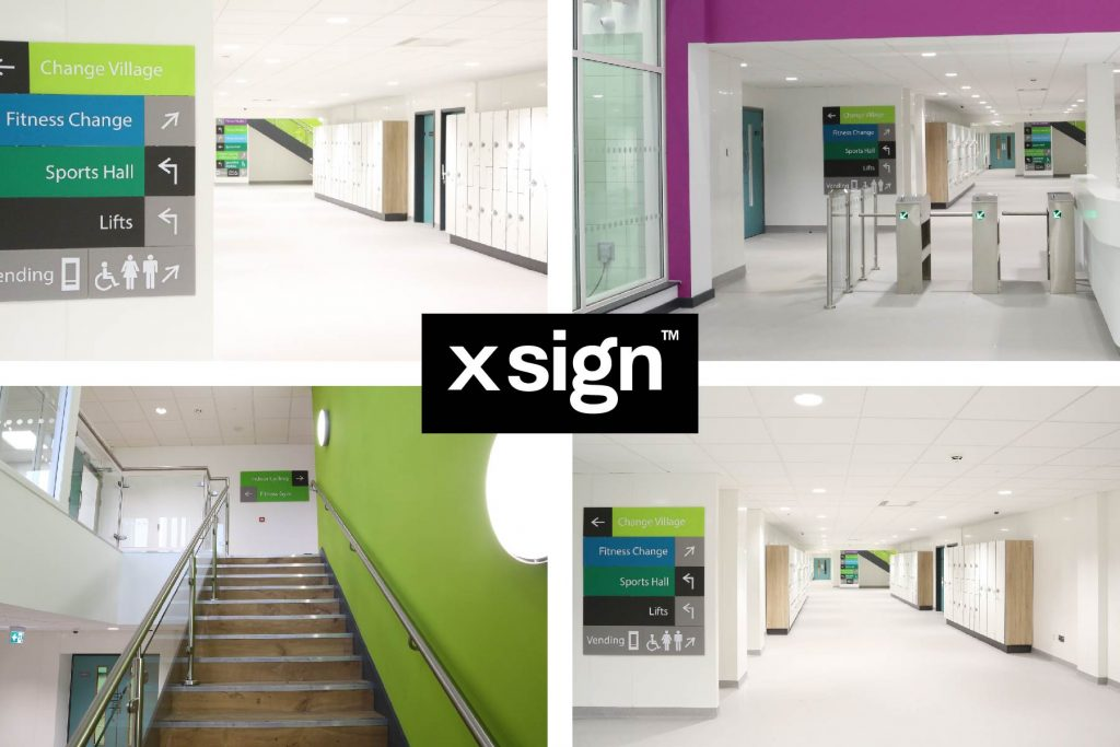 Composite image showcasing four internal views of xsign signage for Perdiswell Leisure Centre
