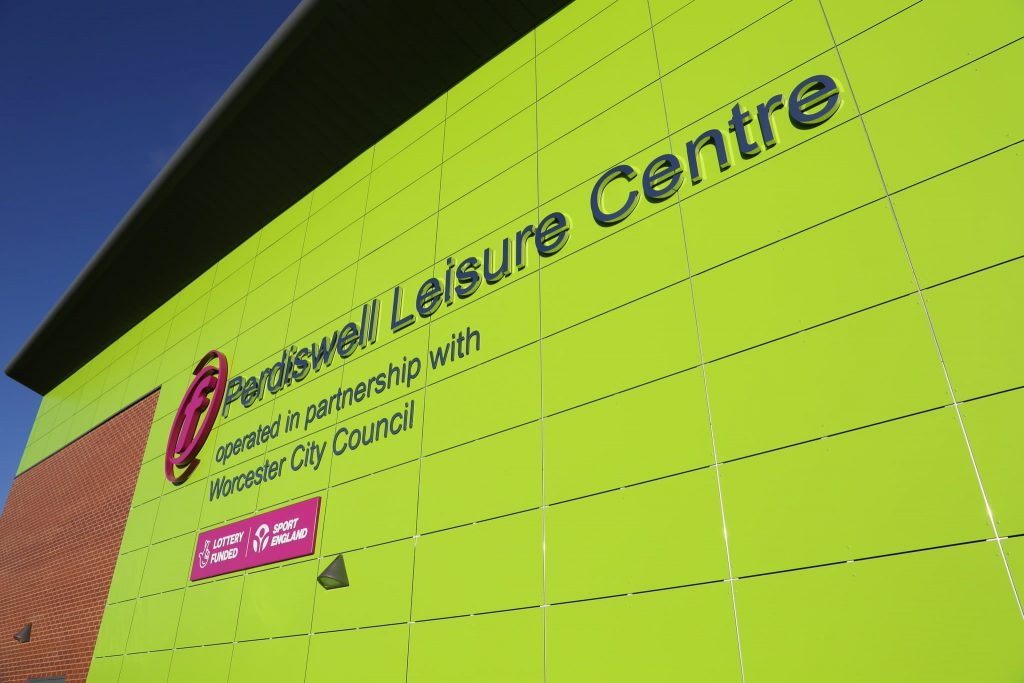 External view of Perdiswell Leisure Centre showing name signage