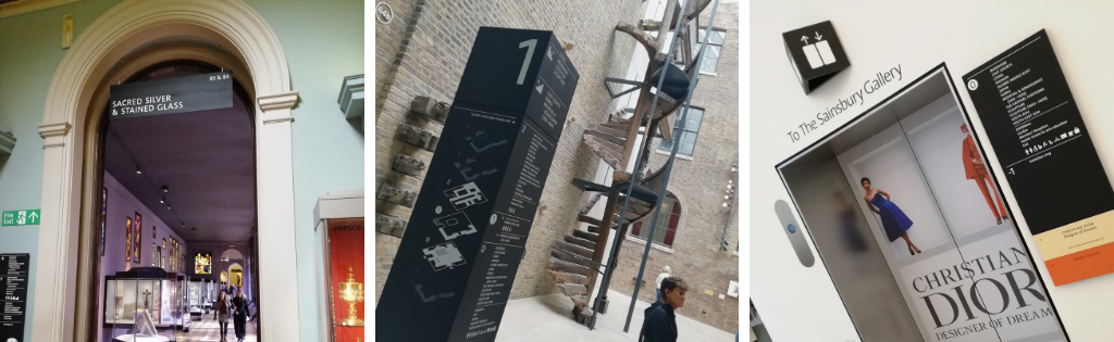 Composite image showing examples of Reade Signs' wayfinding signage for the V&A Museum London