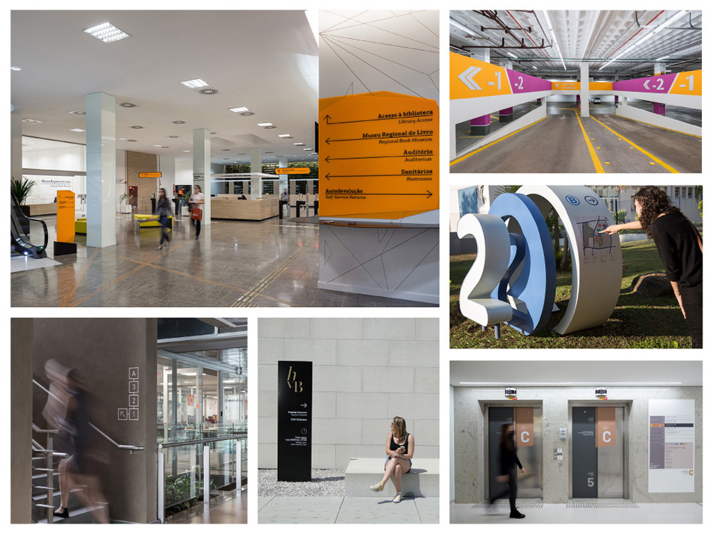 Composite showing examples of /STUDIOMDA wayfinding commissions