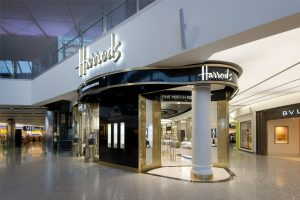 Harrods signage by John Anthony Signs at Heathrow Terminal 2