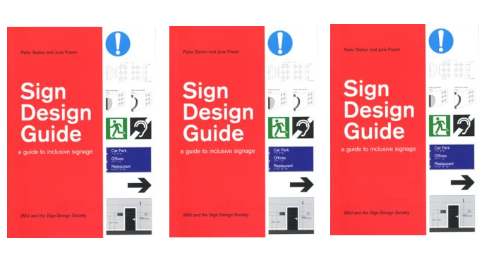 Image of three copies of the Sign Design Guide side by side
