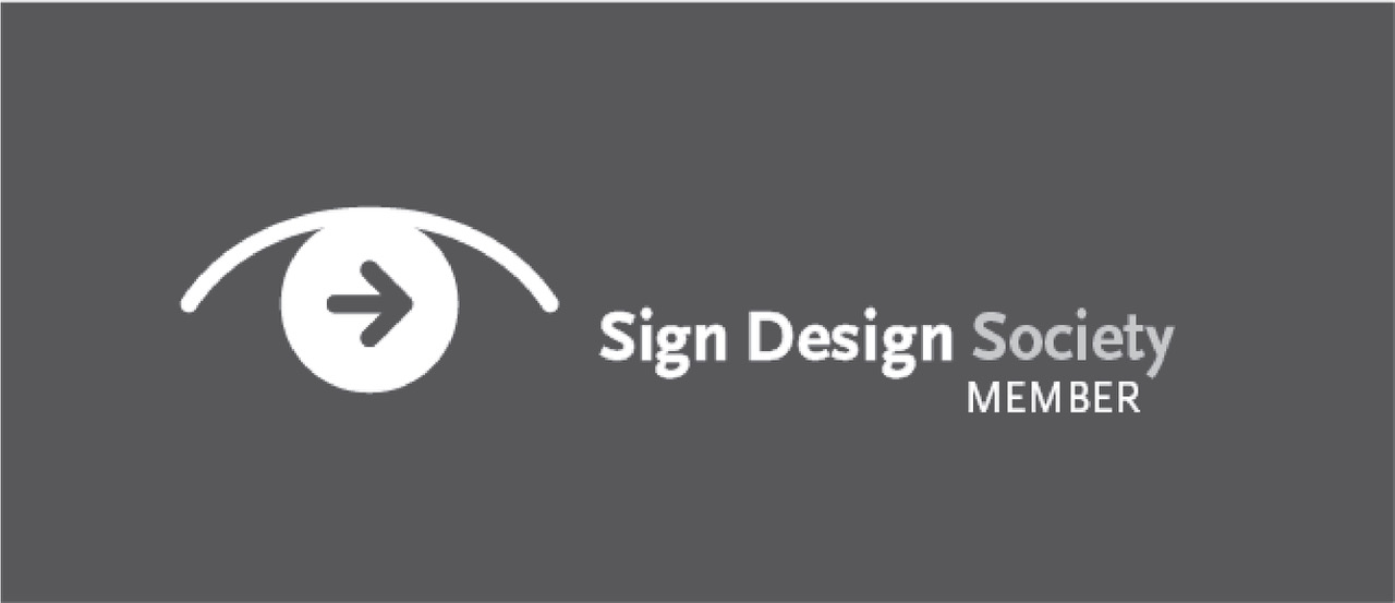 Reversed out Sign Design Society member logo