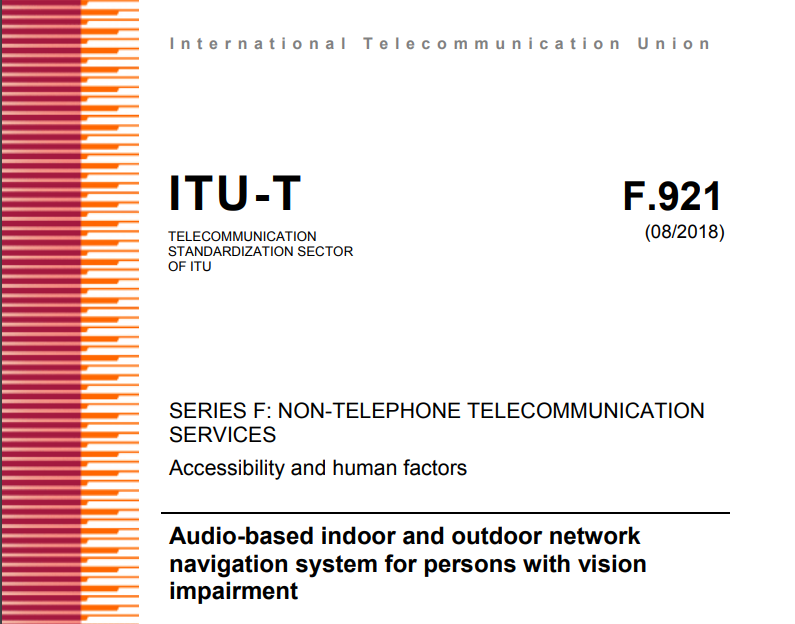 Title page of ITU-T Standard F.921 (accessibility and human factors