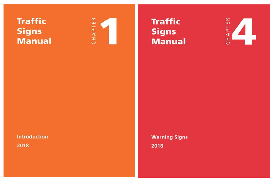 Traffic Signs Manual, Chapters 1 and 4 covers