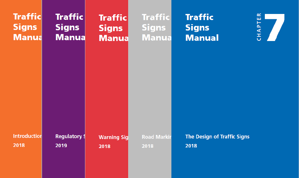 Traffic Signs Manual showing covers of five chapters published so far in 2019