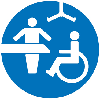 Changing Places Toilet Logo showing carer at an adult change area in a toilet with a person in a wheelchair