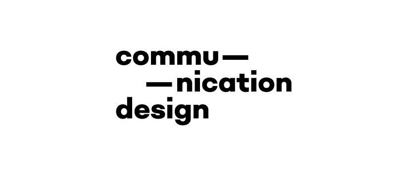 Communication Design wording in black on a white background