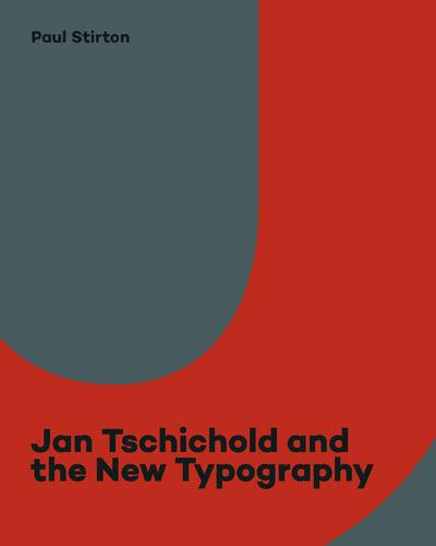 Grey and red abstract book cover with 'Jan Tschichold and the New Typography' text - in black -written bottom centre of the image