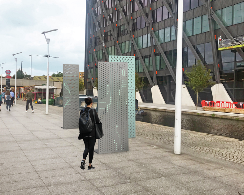 Photo showing wayfinding perforated steel panels, with patterns and stories derived from Paddington's heritage, culture, people and nature create a narrative trail linking the gateways to the canal.