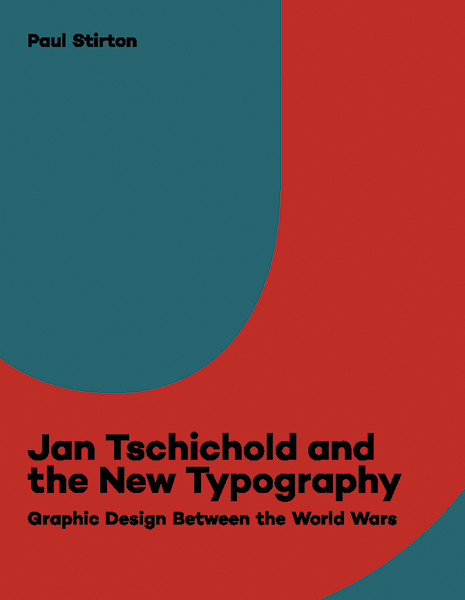 Front cover of Jan Tschichold and the New Typography (with title in black type across a grey/red abstract background