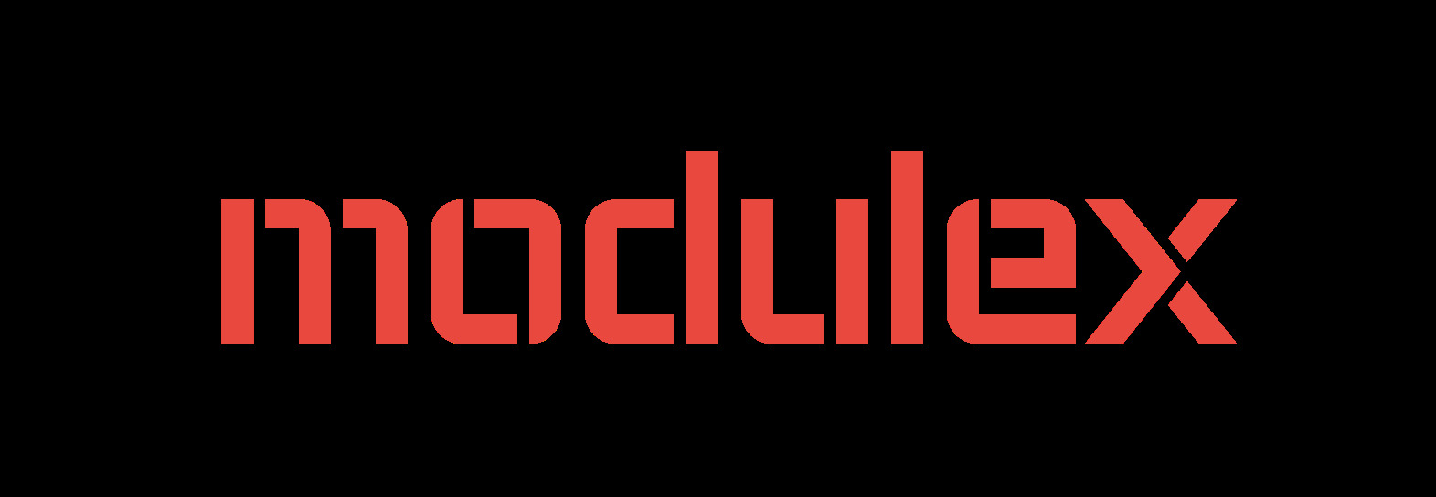 Logo featuring 'Modulex' in red lower-case letters on a black background
