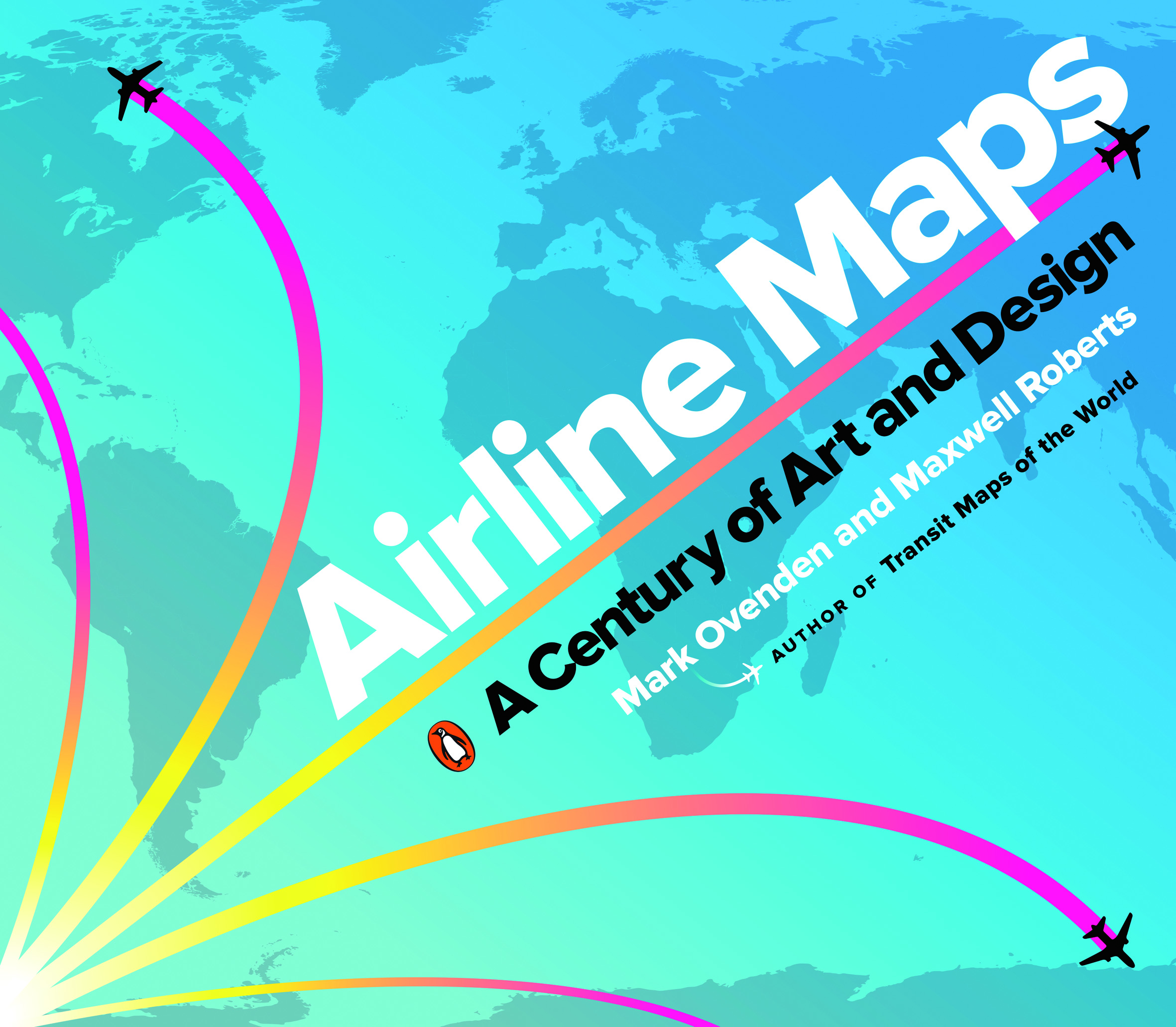Cover of Airline Maps publication (2019) showing multi-coloured vapour trails against a blue wash map showing Africa, Europe and North/South America