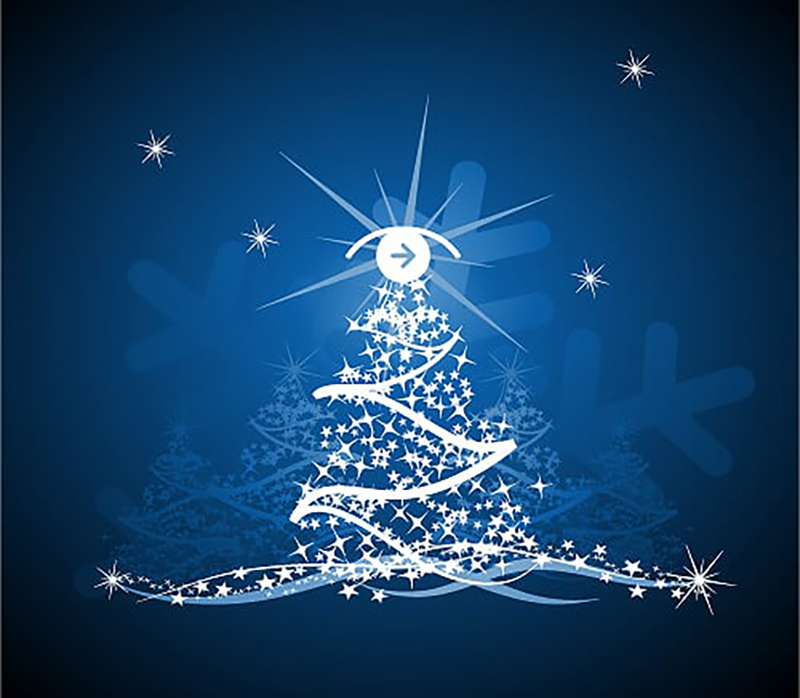 Image of a sparkly white Christmas tree (with SDS Logo sitting at the top) against a starry blue background