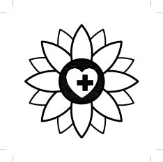A sunflower image containing a heart outline within which is a black cross