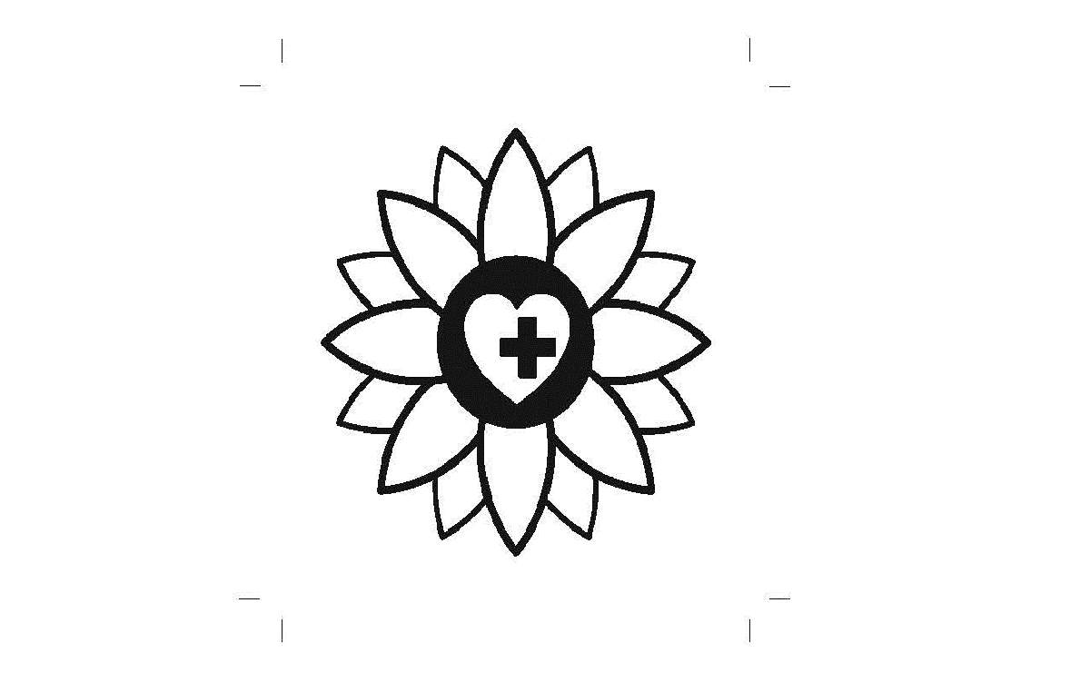 BSI Draft Pictogram for non-visible disabilities (simply drawn sunflower with heart and cross at centre)