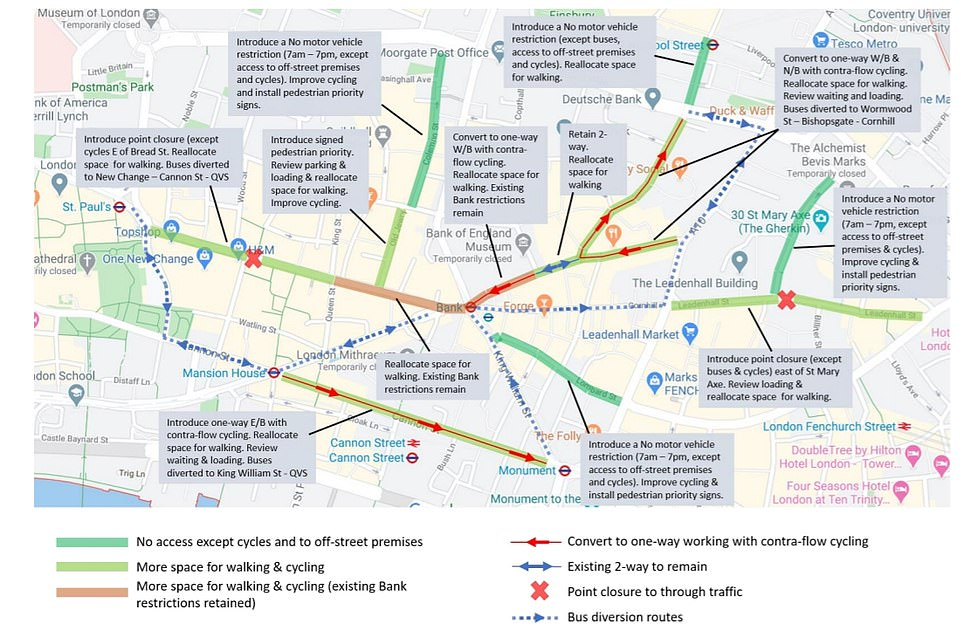 Some of London's busiest roads will be CLOSED to cars to make room for bikes and pedestrians
