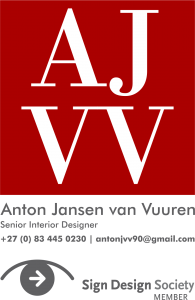 The logo (white type on red background) for Anton Jansen van Vuuren