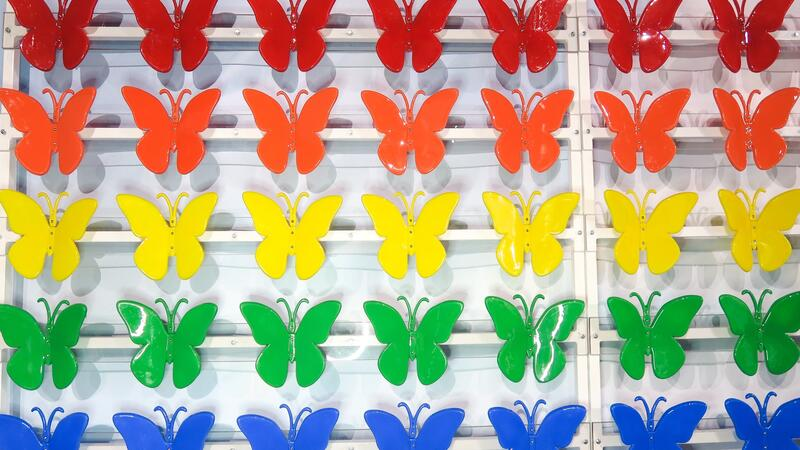 Paper butterflies (representing diversity) in rainbow colours mounted on a plain background