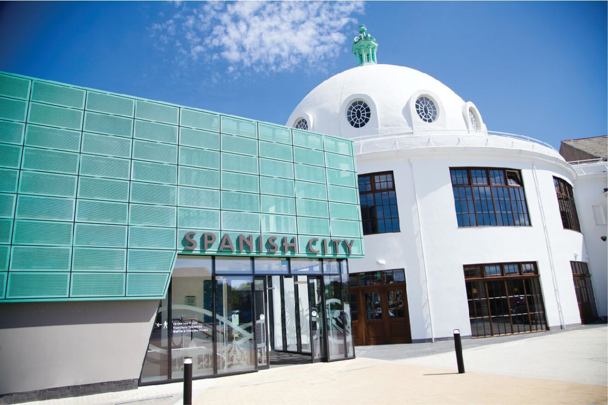 An external view (including signage) of Spanish City, Whitley Bay