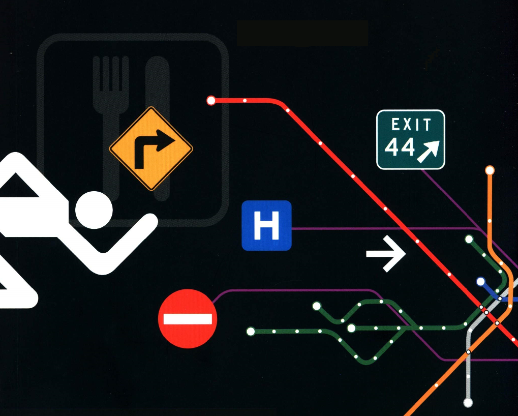 Image showing different wayfinding signs against a black background