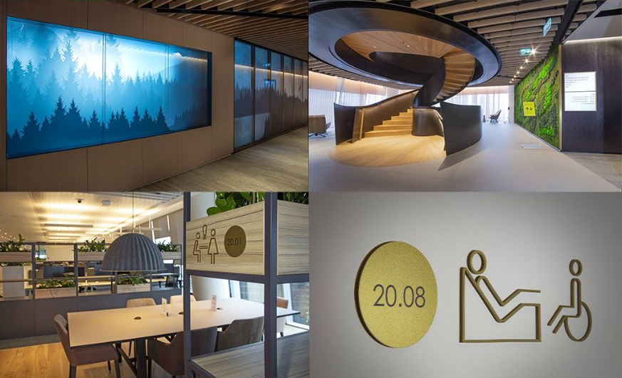 Composite image showing different examples of internal signage at 100 Bishopsgate by Signbox