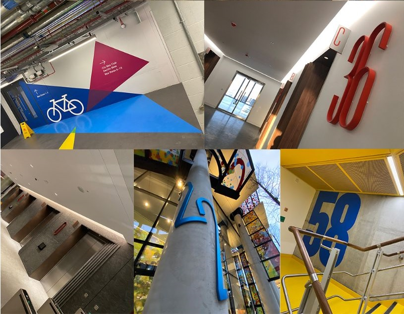 Composite image showing examples of signage by Signbox for Twentytwo at 22 Bishopsgate in City of London (UK)