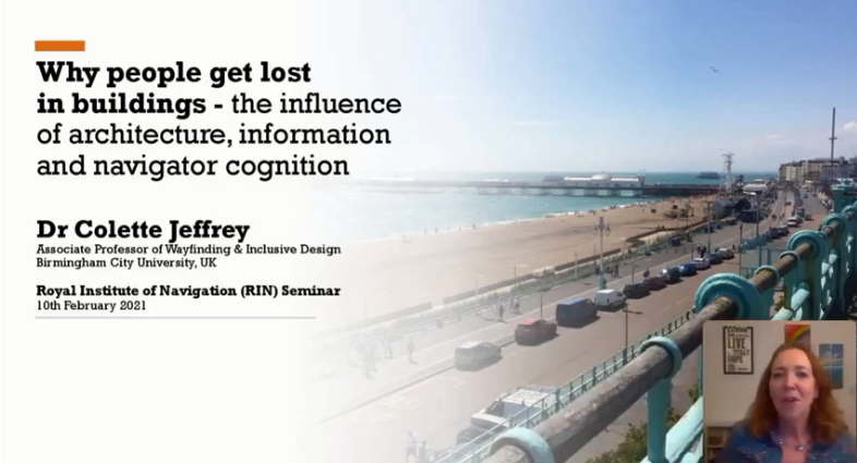Faded image of seaside with small insert of Dr Colette Jeffrey giving talk on wayfinding